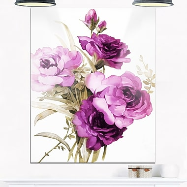 Bunch of Purple Flowers Floral Metal Wall Art, 12x28, (MT6258-12-28)