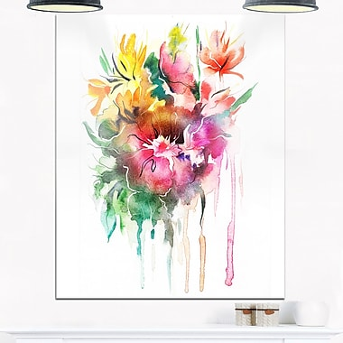 WaterColour Floral Illustration Floral Metal Wall Art, 12x28, (MT6687-12-28)