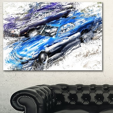 Blue and Purple Muscle Cars Metal Wall Art, 28x12, (MT2658-28-12)