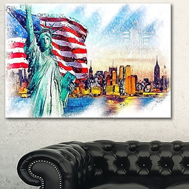 Colourfull Liberty Lady Metal Wall Art, 28x12, (MT2823-28-12)