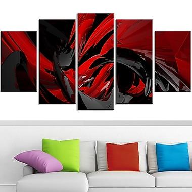 Red and Grey Mixer Metal Wall Art, 60x32, 5 Panels, (MT3049-373)