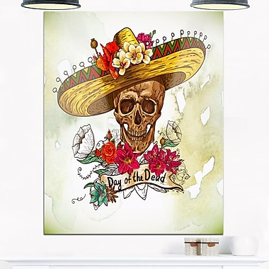 Skull in Sombrero with Flowers Floral Metal Wall Art, 12x28, (MT6635-12-28)