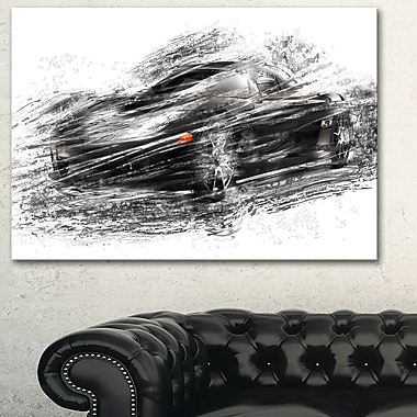 Black Sports Car Metal Wall Art, 28x12, (MT2621-28-12)