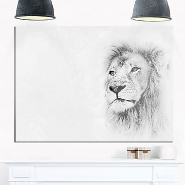 Lion Face on Card Banner Animal Metal Wall Art, 28x12, (MT8195-28-12)