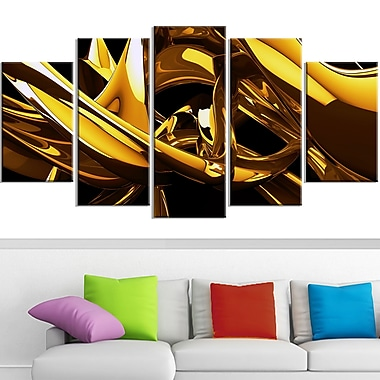 Molten Gold Abstract Metal Wall Art, 60x32, 5 Panels, (MT3023-373)