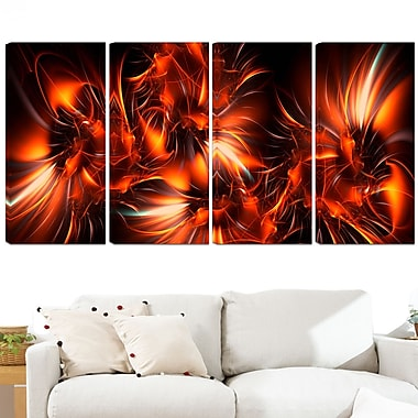 Orange Startbusts Metal Wall Art, 48x28, 4 Panels, (MT3060-271)