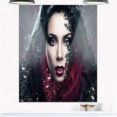 Mysterious Woman Portrait Contemporary Metal Wall Art, 12x28, (MT6897-12-28)