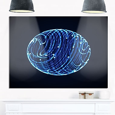 Blue Glowing Particles Abstract Metal Wall Art, 28x12, (MT8324-28-12)