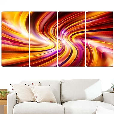 Warm Rainbow Abstract Metal Wall Art, 48x28, 4 Panels, (MT3051-271)