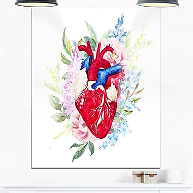 WaterColour Heart with Flowers Digital Metal Wall Art, 12x28, (MT6645-12-28)