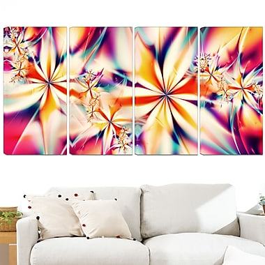 Crystalize Pink Floral Metal Wall Art, 48x28, 4 Panels, (MT3013-271)