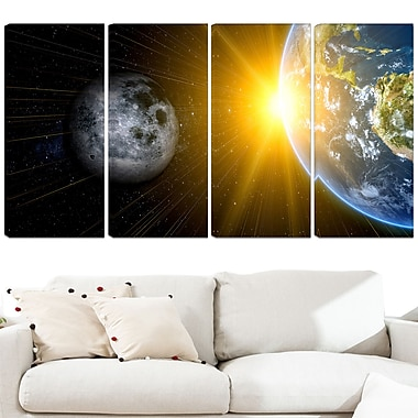 Sun Moon and Earth Our Worlds Metal Wall Art, 48x28, 4 Panels, (MT3088-271)