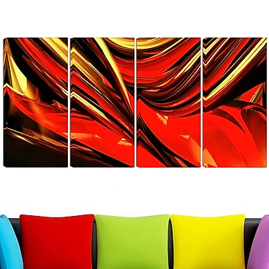 Fire Lines Red Abstract Digital Metal Wall Art, 48x28, 4 Panels, (MT3011-271)
