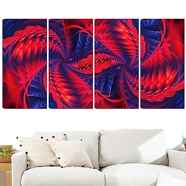 Red and Purple Pinwheels Metal Wall Art, 48x28, 4 Panels, (MT3076-271)
