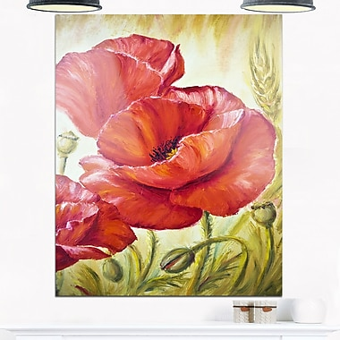 Poppies in Wheat Floral Metal Wall Art, 12x28, (MT6381-12-28)