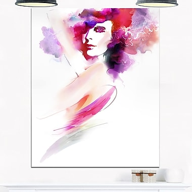 Woman with Colours Digital Portrait Metal Wall Art, 12x28, (MT6696-12-28)