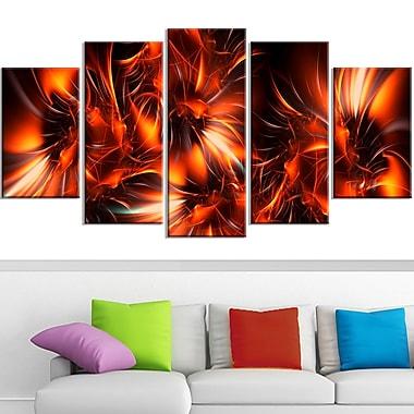 Orange Startbusts Metal Wall Art, 60x32, 5 Panels, (MT3060-373)