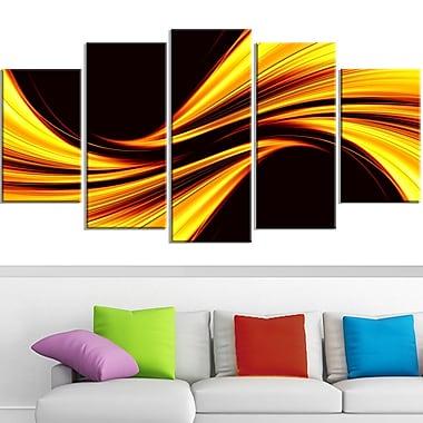 Art mural abstrait en métal, harmonie jaune velouté, 60 x 32 po, 5 panneaux, (MT3019-373)