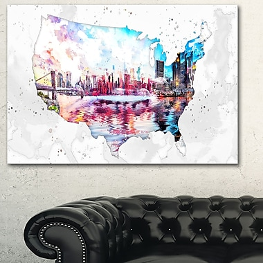 City Sunset on the Map' Metal Wall Art, 28x12, (MT2833-28-12)
