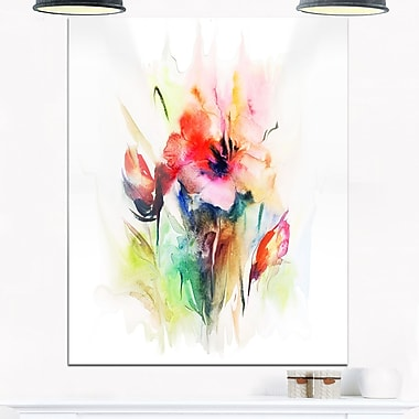 Floral WaterColour Illustration Floral Metal Wall Art, 12x28, (MT6664-12-28)