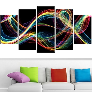 Coloured Smoke Metal Wall Art, 60x32, 5 Panels, (MT3089-373)