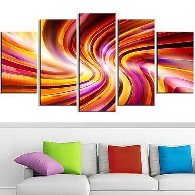 Warm Rainbow, art mural abstrait en métal, 60 x 32, 5 panneaux (MT3051-373)