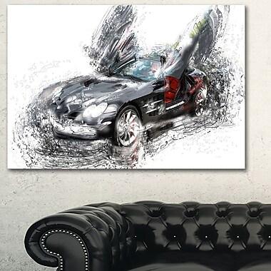 Black Luxury Super Car Metal Wall Art, 28x12, (MT2630-28-12)