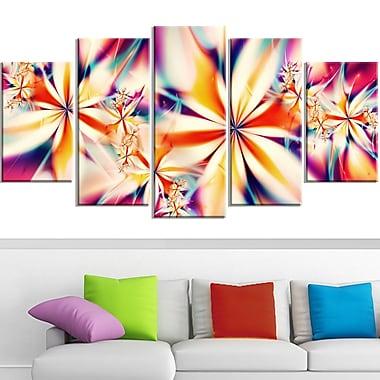 Art mural en métal, fleurs cristallisées roses, 60 x 32, 5 panneaux (MT3013-373)