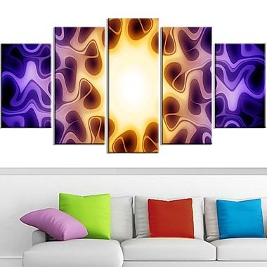 Art mural en métal, lumière transparait, 60 x 32 po, 5 panneaux (MT3042-373)