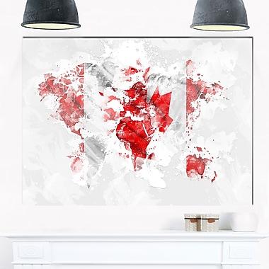 Art mural en métal, mappemonde grise drapeau canadien, 28 x 12 po (MT2742-28-12)