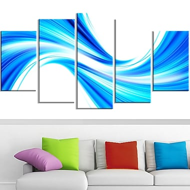 Art mural en métal, bleu calme fluide, 60 x 32 po, 5 panneaux (MT3072-373)