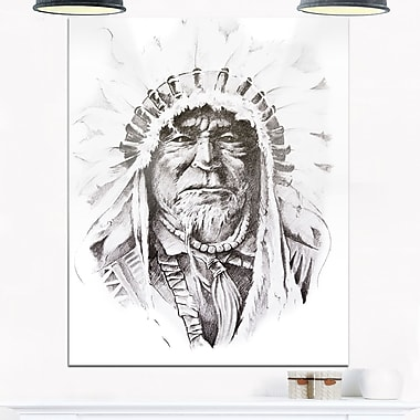 Native American Indian Portrait Metal Wall Art, 12x28, (MT6369-12-28)
