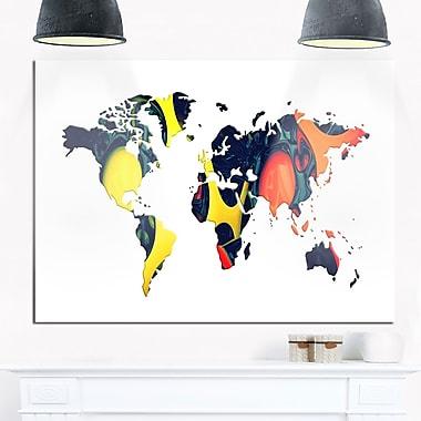 Art mural en métal, mappemonde géographique orange et jaune, 28 x 12 po (MT2722-28-12)