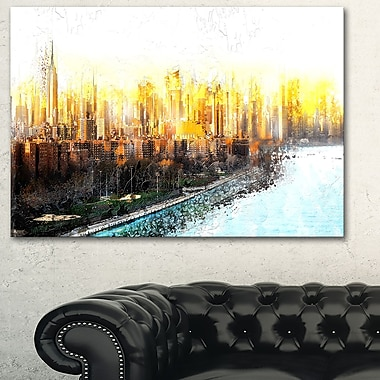Abstract Sunset Cityscape Large Metal Wall Art, 28x12, (MT3313-28-12)