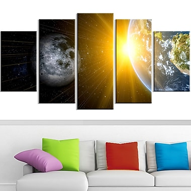 Sun Moon and Earth Our Worlds Metal Wall Art, 60x32, 5 Panels, (MT3088-373)