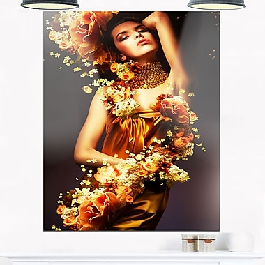Sensual Woman in Flower Robes Portrait Metal Wall Art, 12x28, (MT6906-12-28)