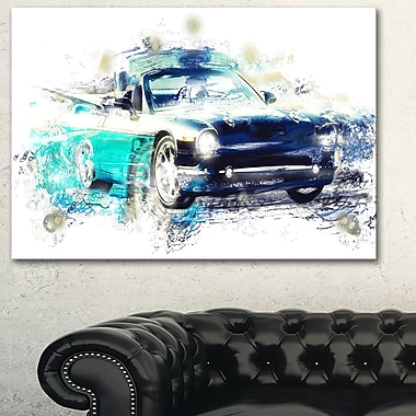Shades of Blue Car Metal Wall Art, 28x12, (MT2659-28-12)