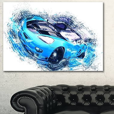 Sky Blue and Black Sports Car, art mural en métal, 28 x 12 (MT2640-28-12)