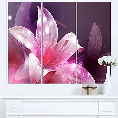 Shining Pink Fractal Flower Floral Metal Wall Art, 36x28, 3 Panels, (MT8123-36-28)