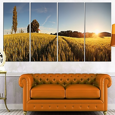 Sunset Over Wheat Field in Slovakia Metal Wall Art, 48x28, 4 Panels, (MT7047-271)