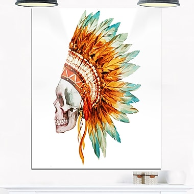 Skull with Feathers Digital Metal Wall Art, 12x28, (MT6636-12-28)