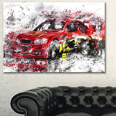 Red Rally Car Metal Wall Art, 28x12, (MT2622-28-12)