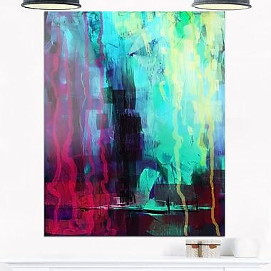 Art mural abstrait en métal, peinture abstraite numérique, 12 x 28 po, (MT6184-12-28)