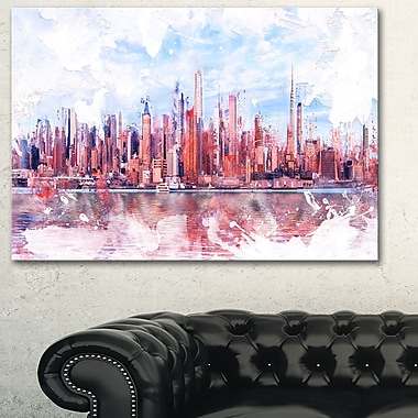 Pink Bay Cityscape Large Metal Wall Art, 28x12, (MT3321-28-12)