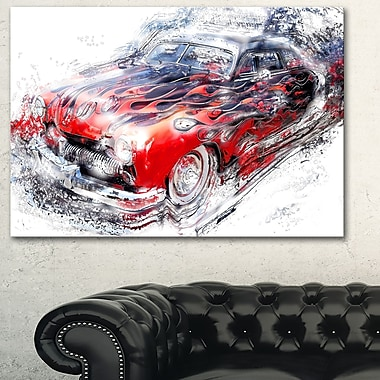 American Burn Out Car Metal Wall Art, 28x12, (MT2606-28-12)