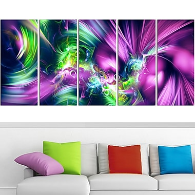 Green and Purple Shine Metal Wall Art, 60x28, 5 Panels, (MT3061-401)