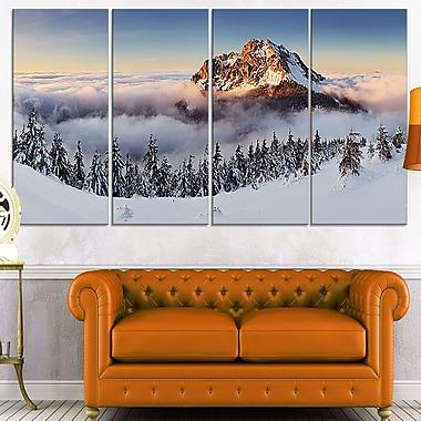 Winter Mountain Landscape Photo Metal Wall Art, 48x28, 4 Panels, (MT7041-271)