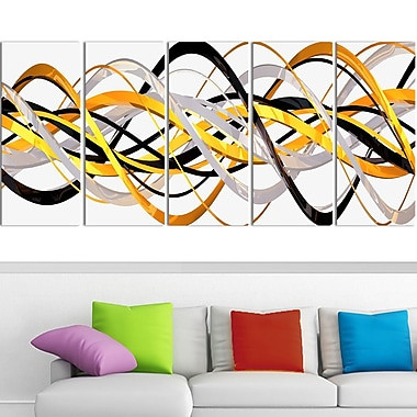 Gold and Silver Helix Metal Wall Art, 60x28, 5 Panels, (MT3043-401)