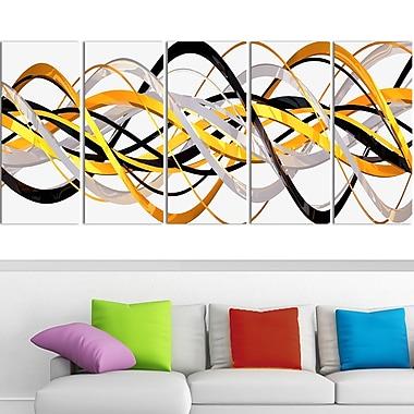 Art mural en métal, hélice dorée et argentée, 60 x 28 po, 5 panneaux (MT3043-401)