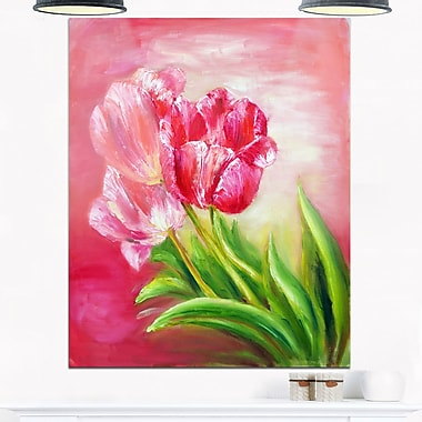 Red Tulips in Red Background Floral Metal Wall Art, 12x28, (MT6284-12-28)